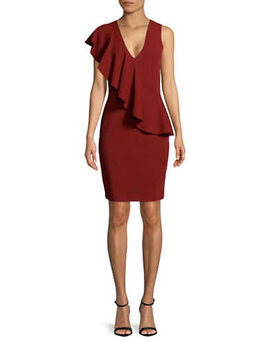Diane Von Furstenberg Asymmetrical Ruffle Sheath Dress-BORDEAUX-Small