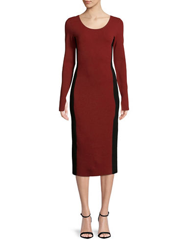 Diane Von Furstenberg Long-Sleeve Dress-BORDEAUX-Large
