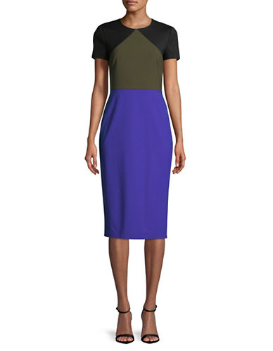 Diane Von Furstenberg Colourblocked Wool-Blend Midi Dress-BLUE-10