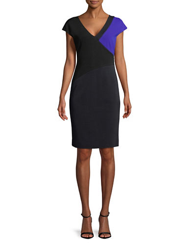 Diane Von Furstenberg V-Neck Cap-Sleeve Dress-BLACK-0