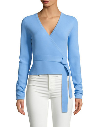 Diane Von Furstenberg Long-Sleeve Wrap Top-BLUE-X-Small