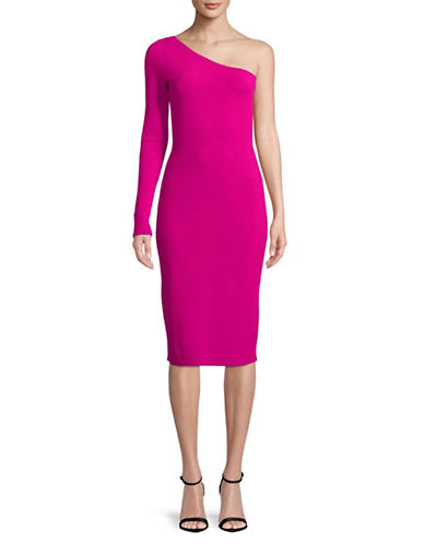 Diane Von Furstenberg One-Shoulder Knee-Length Dress-PINK-Large