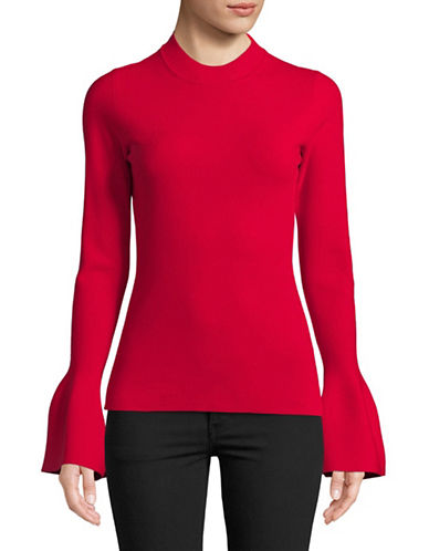 Diane Von Furstenberg Flutter-Sleeve Mock Neck Top-RED-Large