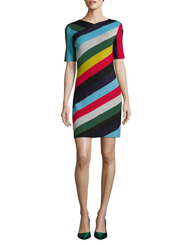 Diane Von Furstenberg Metallic Stripe Merino Wool Dress-MULTI-Small