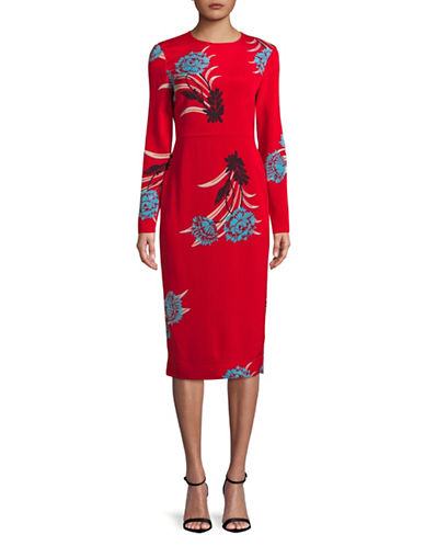 Diane Von Furstenberg Silk-Blend Sheath Dress-RED-2
