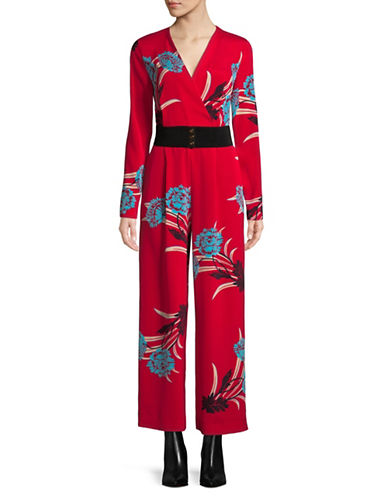 Diane Von Furstenberg Silk-Blend Crossover Jumpsuit-RED-0