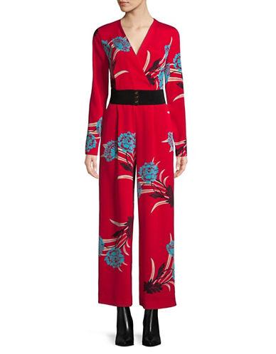 Diane Von Furstenberg Silk-Blend Crossover Jumpsuit-RED-12