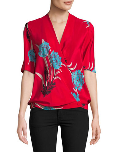 Diane Von Furstenberg Crossover Silk Blouse-RED-2
