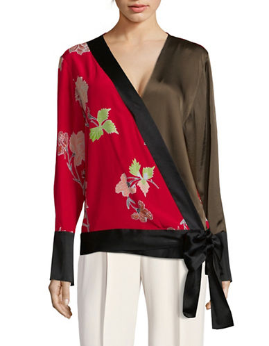 Diane Von Furstenberg Long-Sleeve Crossover Silk Blouse-RED-Medium
