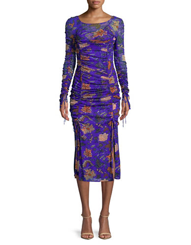 Diane Von Furstenberg Long-Sleeve Overlay Mesh Midi Dress-BLUE-8