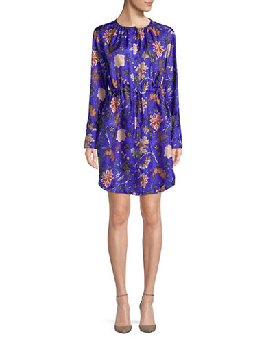 Diane Von Furstenberg Long-Sleeve Cinched Waist Silk Shirtdress-BLUE-12