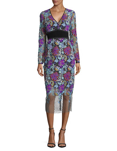 Diane Von Furstenberg Long-Sleeve Banded Overlay Lace Dress-MULTI-2