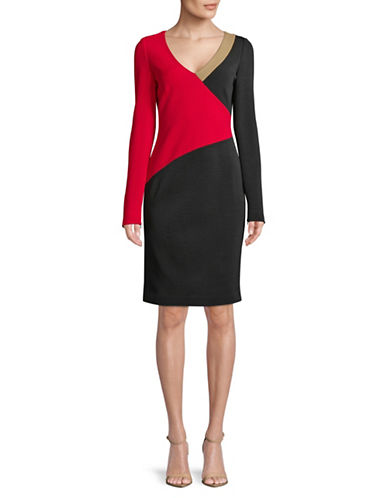 Diane Von Furstenberg V-Neck Colourblock Dresss-BLACK-0