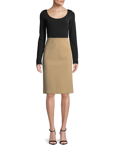 Diane Von Furstenberg Two Tone Long-Sleeve  Dress-BLACK-2