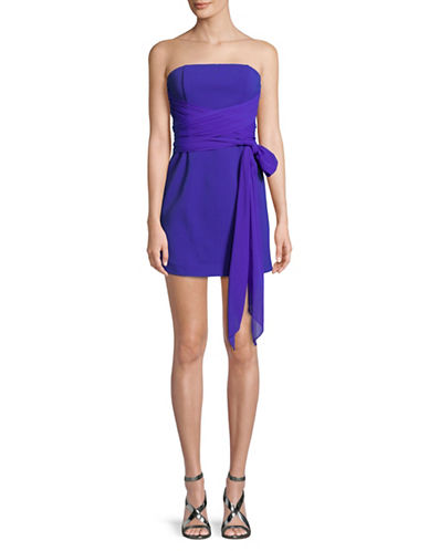 Diane Von Furstenberg Strapless Sash Dress-BLUE-4