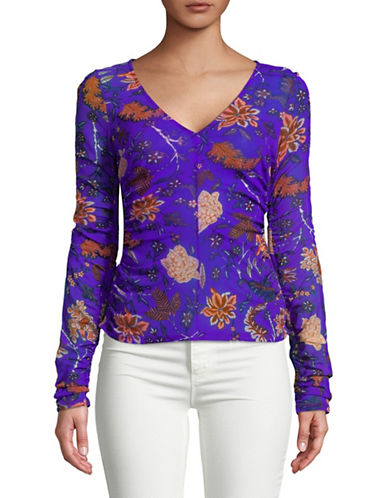 Diane Von Furstenberg Long-Sleeve V-Neck Top-BLUE-Large