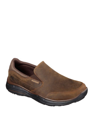 Skechers Mens Glides-Calculous Leather Casual Loafers-BROWN-7.5