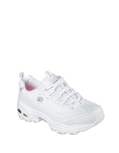 Skechers Womens DLites Fresh Start Sneakers-WHITE-6.5