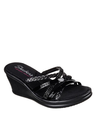 Skechers Womens Rumbler Multi-Strap Wedge Slides-BLACK-7.5