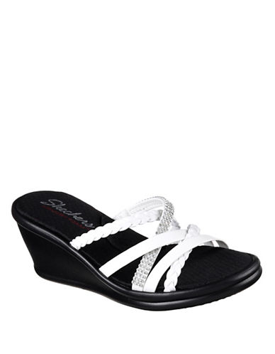 Skechers Womens Rumbler Multi-Strap Wedge Slides-WHITE-9
