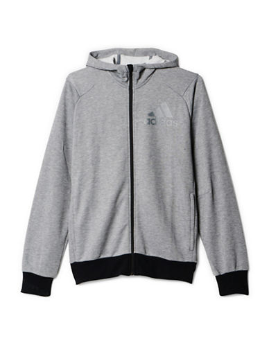 Adidas Slim-Fit Zip-Front Hoodie-GREY-Large