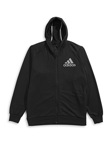 Adidas Slim-Fit Zip-Front Hoodie-BLACK-Small
