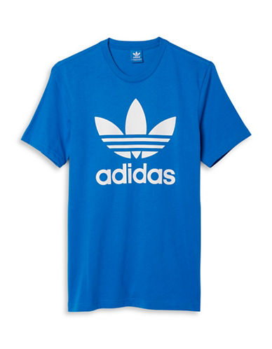Adidas Originals Trefoil Print T-Shirt-BLUE-Large