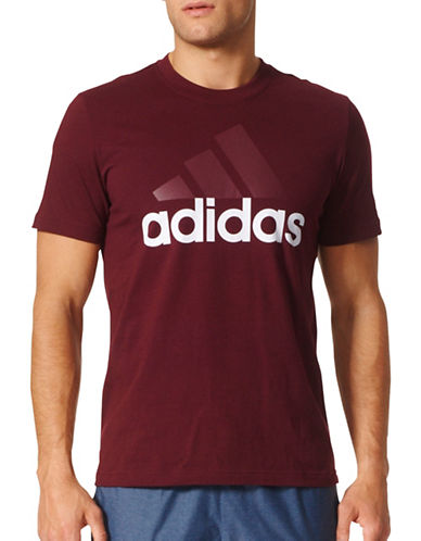 Adidas Essentials Logo Cotton T-Shirt-RED-Small