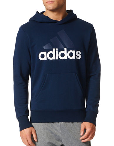 Adidas Essentials Linear Pullover Hoodie-NAVY-X-Large