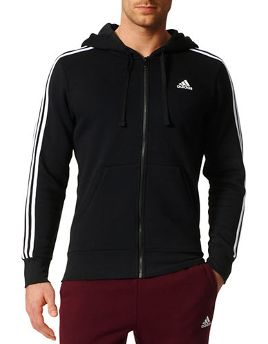 Adidas Contrasting Panel Detail Hoodie-BLACK-Small