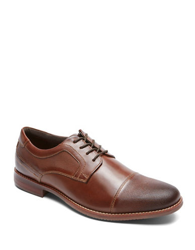 Rockport Style Purpose Textured Leather Bluchers-BROWN-10.5W