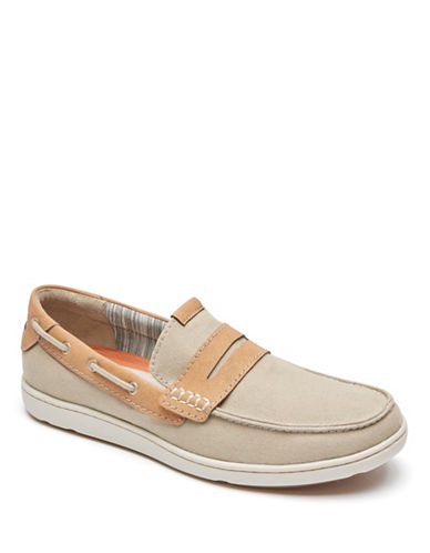 Rockport Gryffen Canvas Slip-On Penny Loafers-BEIGE-11W