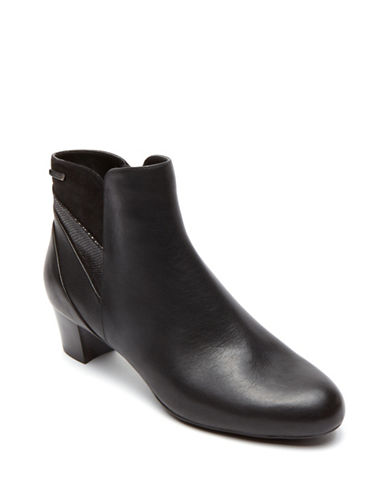 Rockport Cherith Ankle Boots-BLACK LEATHER-9W
