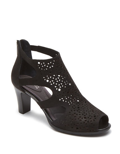 Rockport Total Motion Leather Laser Cut-Out Booties-BLACK-7