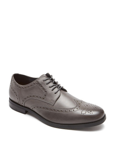 Rockport Style Purpose Wingtip Leather Oxfords-GREY-12W