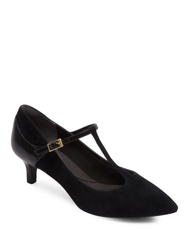 Rockport Total Motion Kalila T-Strap Pumps-BLACK SUEDE-9.5