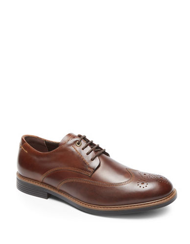 Rockport Classic Break Leather Wingtip Oxfords-DARK BROWN-7.5D
