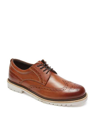 Rockport Marshall Wingtip Leather Oxfords-COGNAC-9W