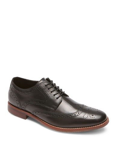 Rockport Style Purpose Wingtip Leather Oxfords-BLACK-7W