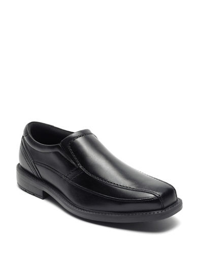 Rockport Classic Tradition Bike Toe Leather Slip-On Shoes-BLACK-9.5