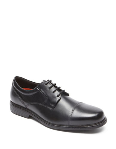 Rockport Charles Road Cap Toe Derby Shoes-BLACK-12