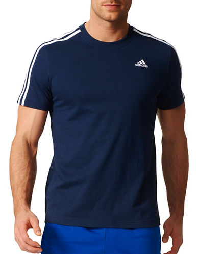 Adidas Essentials 3-Stripes Cotton T-Shirt-BLUE-Medium