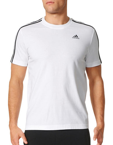 Adidas Essentials 3-Stripes Cotton T-Shirt-WHITE-Medium