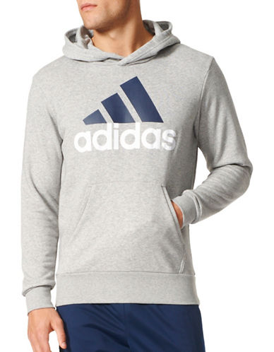 Adidas Essentials Linear Pullover Hoodie-GREY-X-Large