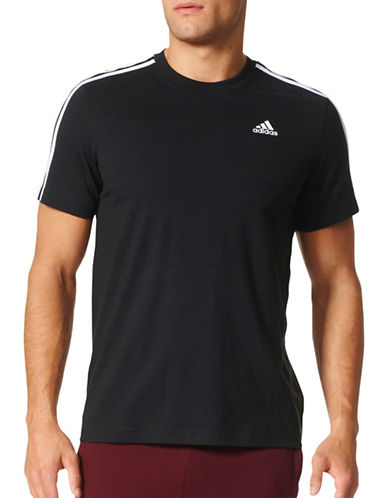 Adidas Essentials 3-Stripes Cotton T-Shirt-BLACK-Small 89668365_BLACK_Small
