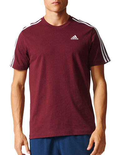 Adidas Essentials 3-Stripes Cotton T-Shirt-RED-XX-Large