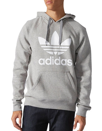 Adidas Originals Trefoil Regular-Fit Fleece Hoodie-GREY-X-Large 88908040_GREY_X-Large