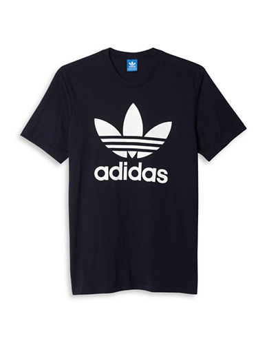 Adidas Originals Trefoil Print T-Shirt-DARK BLUE-Large 88424338_DARK BLUE_Large