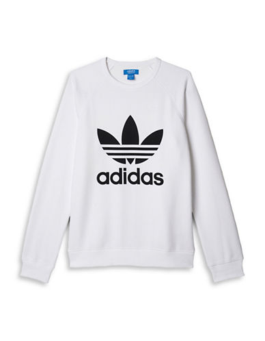 Adidas Trefoil Fleece Sweatshirt-WHITE-Medium 88424347_WHITE_Medium