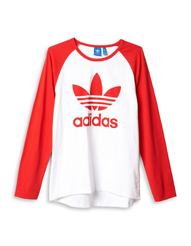 Adidas Trefoil Raglan Long Sleeve T-Shirt-RED-Large 88424353_RED_Large